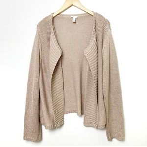 Chico's tan and gold cardigan